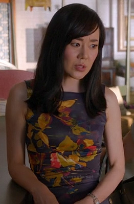 Karen's black and yellow floral pencil dress on Mistresses