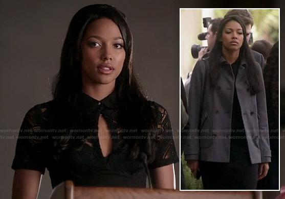 Lacey's black lace keyhole dress and grey coat at the funeral on Twisted