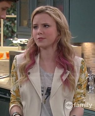 Lennox's white jacket with yellow floral sleeves on Melissa & Joey