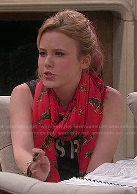 Lennox's red scarf with leopard print on Melissa and Joey