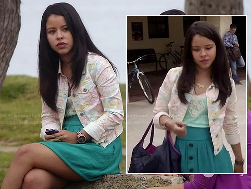 Mariana's floral denim jacket and teal button front skirt on The Fosters