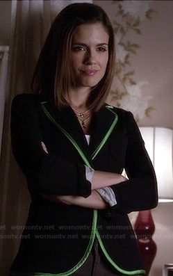 Melissa's blazer with green trim on Pretty Little Liars