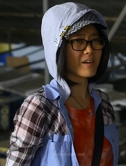 Ming's hoodie with denim and plaid on Awkward