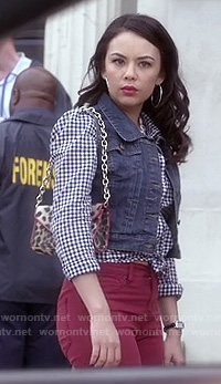Mona's gingham check shirt with denim vest and red jeans on PLL