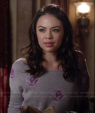 Mona's grey rose print sweater on Pretty Little Liars