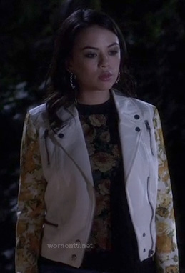 Mona's white moto jacket with floral sleeves on Pretty Little Liars