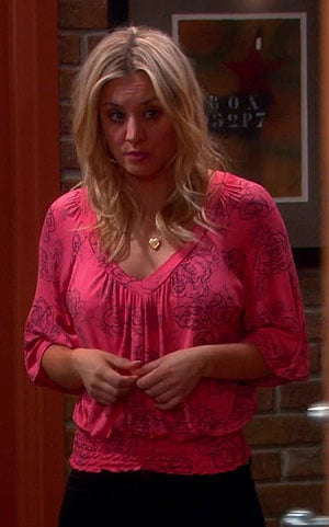 Penny's pink rose print top on The Big Bang Theory
