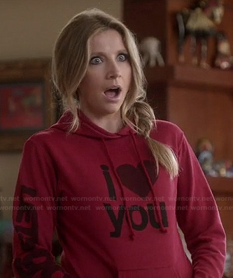"Polly's red ""I Heart You"" sweater on HTLWYP"