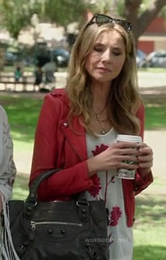 Polly's red leather jacket and grey purse on How to Live with Your Parents