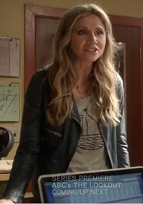 Polly's grey sail boat tee and black leather jacket on How To Live With Your Parents