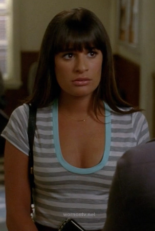 Rachel's grey striped tee with blue trim and tiny arrow necklace on Glee