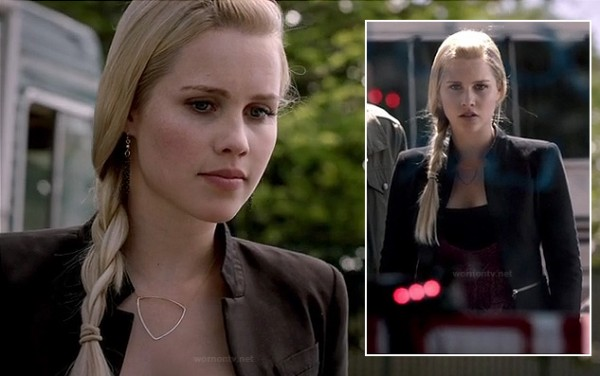 Rebekah's black coat with zips on TVD
