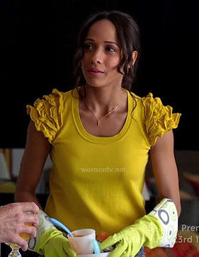 Rosie's yellow ruffle sleeve top on Devious Maids
