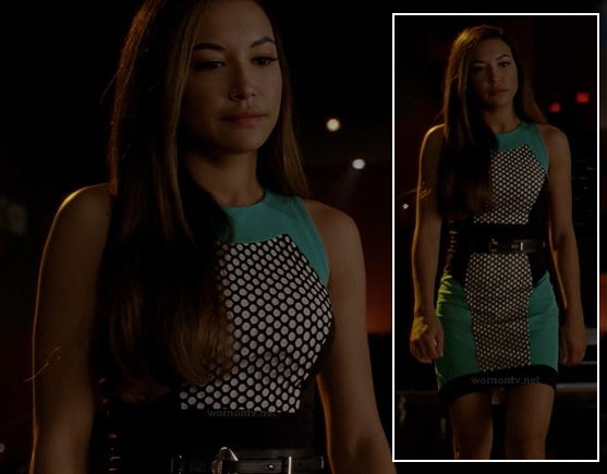 Santana's polka dot colorblock dress on Glee
