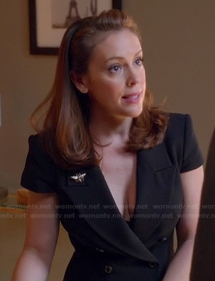 Savi's black double breasted suit style dress on Mistresses