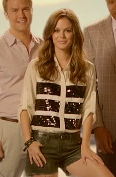 Zoe's white and black sequin striped shirt on the intro for Hart of Dixie Season 2