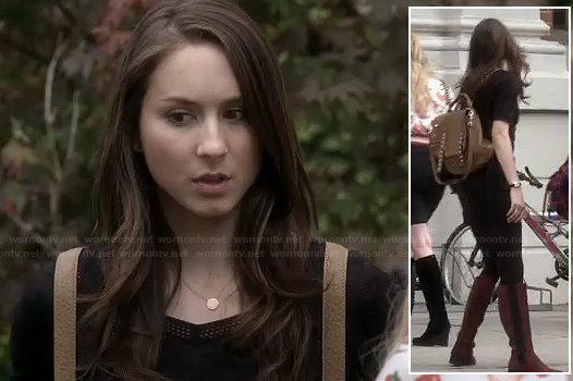Spencer's black mesh panel dress and tan studded backpack on Pretty Little Liars