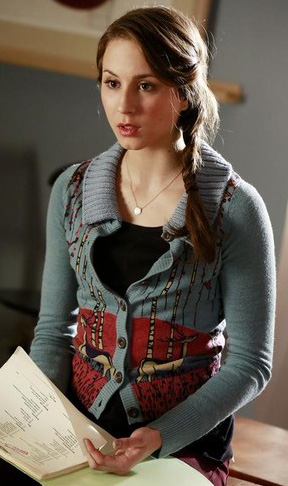 Spencer's blue deer print cardigan on Pretty Little Liars