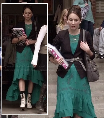 Spencer's green maxi dipped hem / hi-low dress with white combat boots and a black blazer on Pretty Little Liars