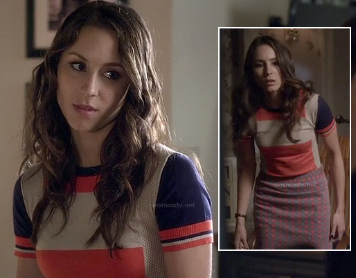 Spencer's blue and orange colorblock tee with check print skirt on Pretty Little Liars