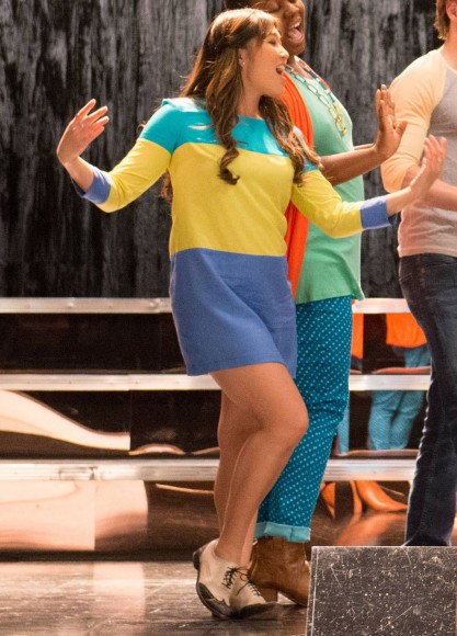 Tina's blue turquoise and yellow dress on Glee