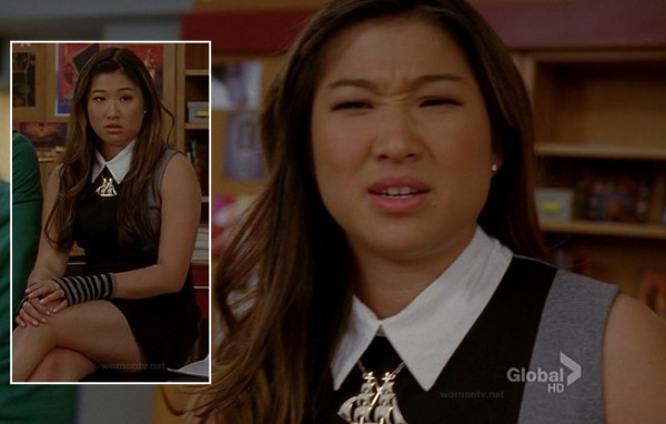 Tina's black and grey collared dress with sailboat necklace on Glee