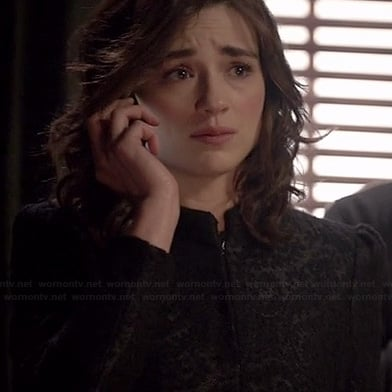 Allison's black jacquard coat on Teen Wolf