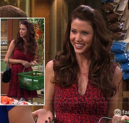 Anita (Shannon Elizabeth)'s red leopard print v-neck dress on Melissa and Joey
