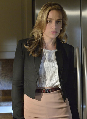 Annie's black cropped jacket and spot print blouse on Covert Affairs