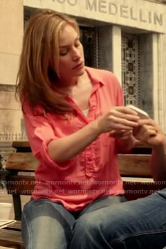 Annie's coral print roll sleeve shirt on Covert Affairs