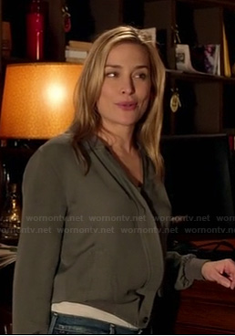 Annie's army green wrap style jacket on Covert Affairs