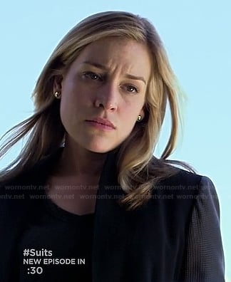 Annie's black blazer with leather sleeves on Covert Affairs