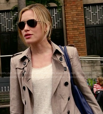 Annie's trench coat and aviator sunglasses on Covert Affiars
