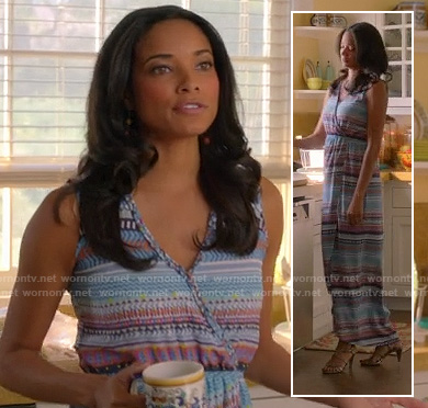 April's blue printed wrap maxi dress on Mistresses