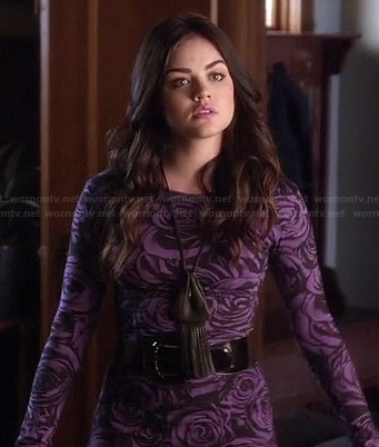 Aria's purple rose print mini dress on Pretty Little Liars