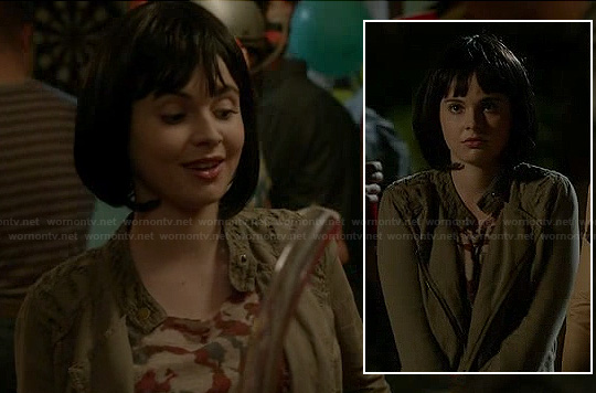 Bay's khaki green jacket with embroidered shoulders on Switched at Birth