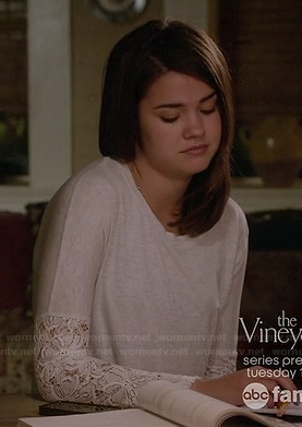 Callie's white lace sleeved top on The Fosters