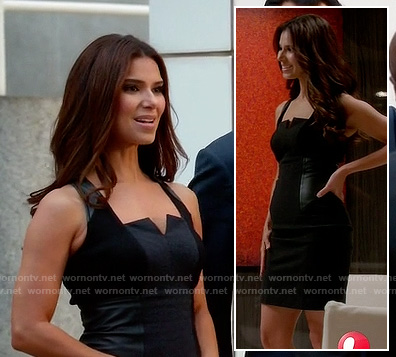 Carmen's black split neck dress with leather panels on Devious Maids