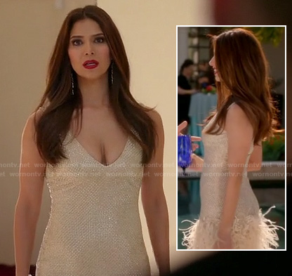 Carmen's champagne feather dress on Devious Maids