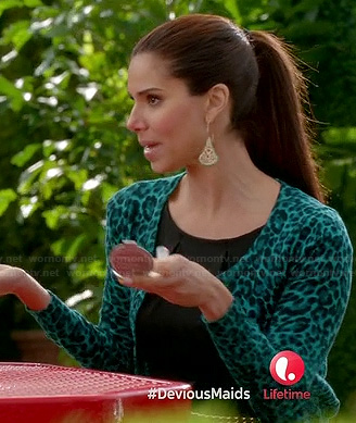 Carmen's teal green leopard print cardigan on Devious Maids