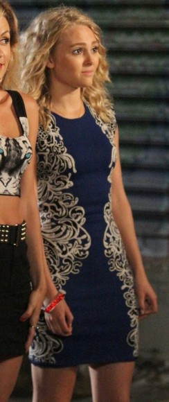Carrie's blue dress with side swirls on The Carrie Diaries