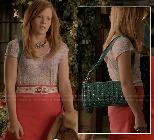 Daphne's teal green studded bag on Switched at Birth