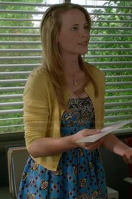 Daphne's blue rose printed dress on Switched at Birth