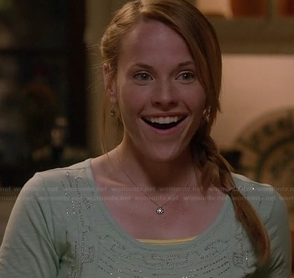 Daphne's mint green top with bead detail on Switched at Birth