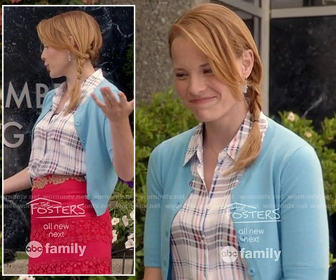 Daphne's red lace skirt, plaid shirt and blue cardigan on Switched at Birth