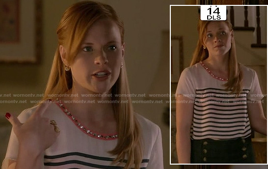 Daphne's white striped top with pink embellished neckline and button front shorts on Switched at Birth