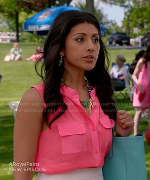 Divya's hot pink sleeveless blouse on Royal Pains