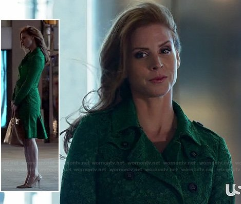 Wornontv Donna S Green Lace Trench Coat On Suits Sarah
