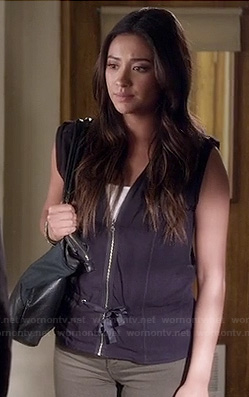 Emily's tie front zip up vest on Pretty Little Liars