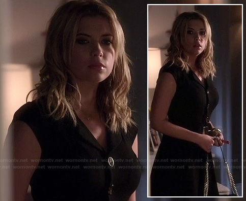 Hanna's black button front dress on Pretty Little Liars